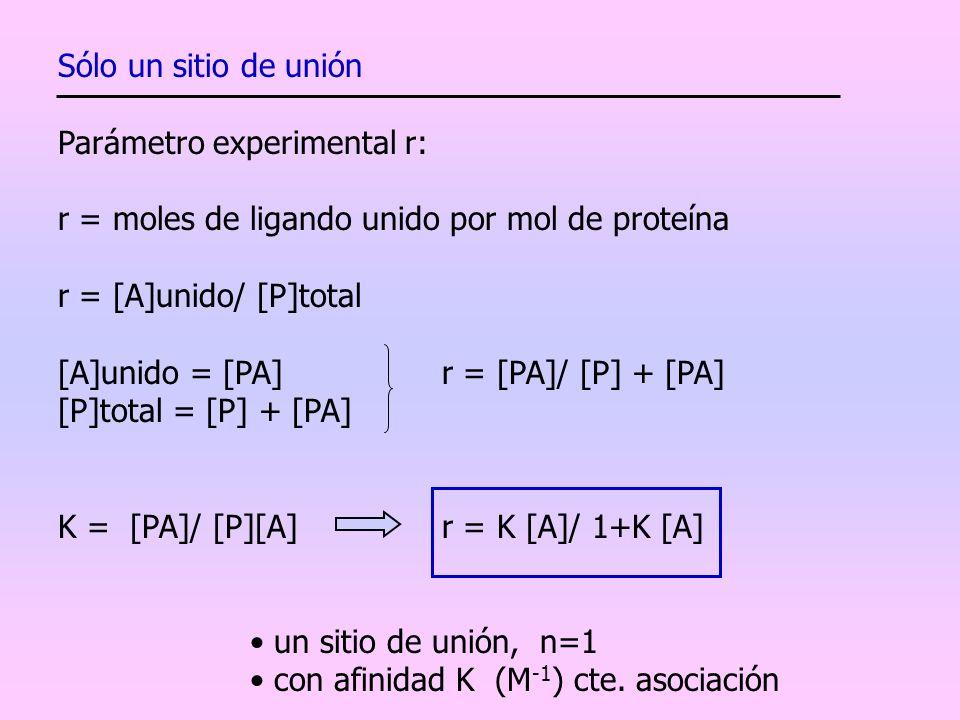 Sólo un sitio de unión Parámetro experimental r: r = moles de ligando unido por mol de proteína. r = [A]unido/ [P]total.